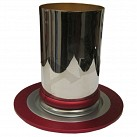 Dabbah Kiddush Cup and plate - Red Design - silver plated