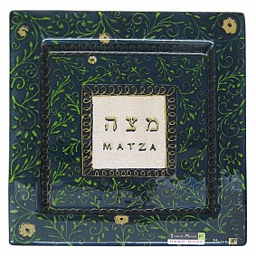 Glass Floral Design Matzah Plate - green