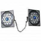 Star of David Tallit Clip - Blue Stone