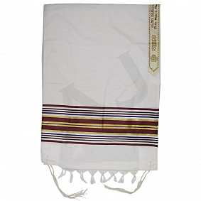 Wool and Polyester Tallit - Multicoloured Stripes - Size 30