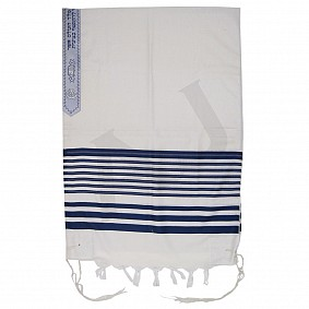 100% Wool Tallit - Or Blue Stripes