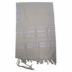100% Wool Tallit - White and Silver Stripes