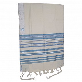 100% Wool Tallit - Or - Light Blue and Silver stripes - Size 60