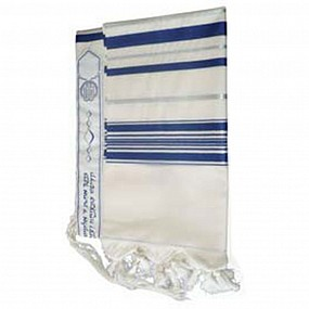 100% Wool Tallit - Silver and Blue stripes