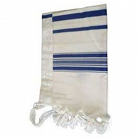 100% Wool Tallit - Blue Stripes