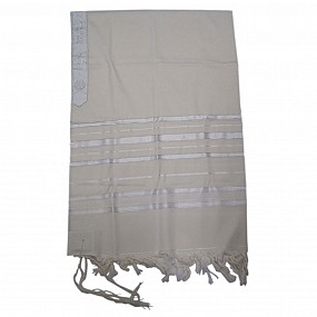 100% Wool Tallit - Or - White and Silver Stripes - Size 60
