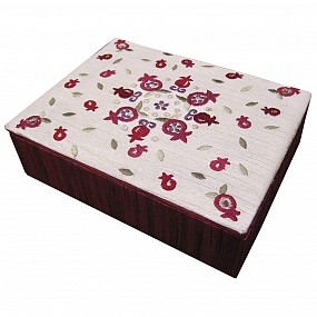 Yair Emanuel Embroidered Jewellery Box With Pomegranates - Red