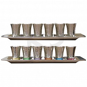 Hammered Design Tall Kiddush Set