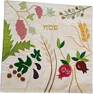 Raw Silk Matzah Cover with Floral Design