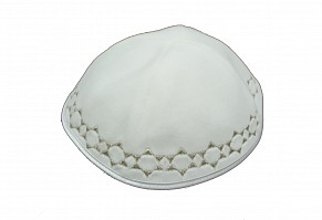 White Velvet Kippah with four sections and Silver Magen David