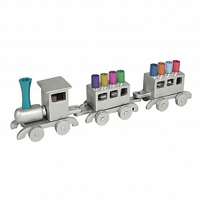 Emanual Train Menorah - Multicoloured tips