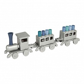 Emanual Train Menorah - Blue tips