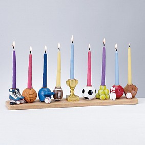 Sports Menorah - hand painted Resin