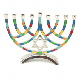 Metal Pieces Menorah - Multicoloured