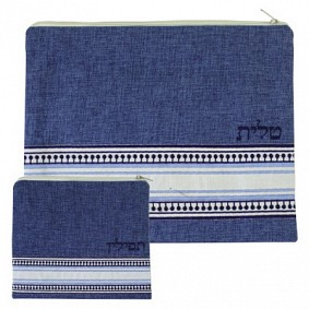 Blue Linen Tallit and Tefilin Bag -