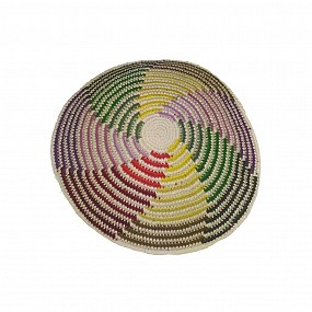 White Knitted Kippah - Coloured Lines
