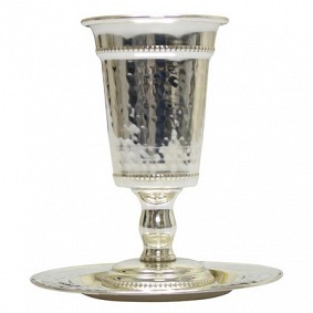 Hammered Kiddush Cup on foot and plate - silver plated