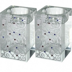 Square glass tea light candle holders - Pomegranates