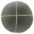 Grey Suede Kippah with Silver