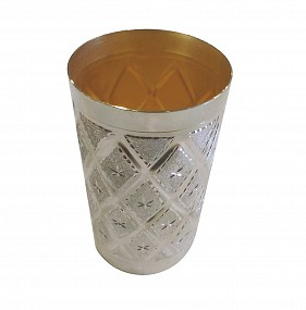 Silver Plated Kiddush Cup - Diamonds