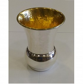 Sterling Silver Kiddush Cup - Half Hammered