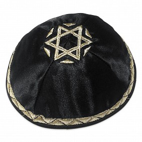 Black high quality Satin Kippah - Silver embroidery