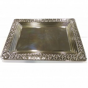 Rectangular Tray with Design - Nickel