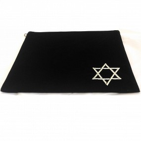 Navy Tallit Bag - Velvet Magen David Silver