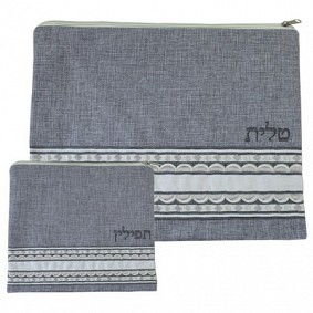Linen Tallit & Tefilin Set - Grey