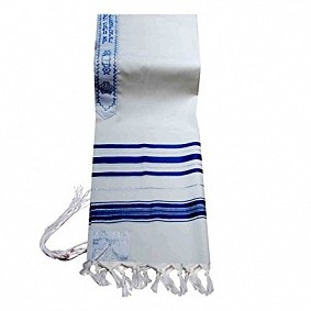 Child Tallit - Silver and Blue stripes