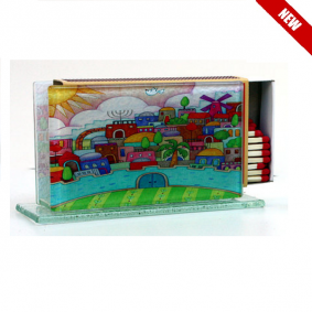 Large Glass Matchbox Holder - Jerusalem Scenery