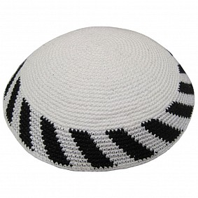 White Knitted Kippah with Black Stripes