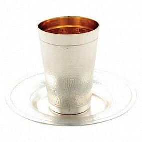 Silver plated Kiddush cup and plate - Hammered
