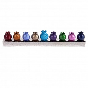 Coloured Pomegranate Menorah