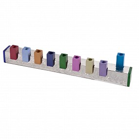 Emanuel Hammered Menorah - coloured squares