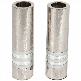 Cylinder Candlesticks - Silver Rings