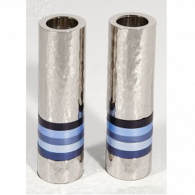 Cylinder Candlesticks - Blue Rings