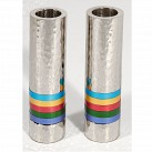 Cylinder Candlesticks - Multi coloured Rings