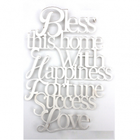 Laser cut home blessing English - silver