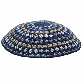 Navy Knitted Kippah - Beige circles