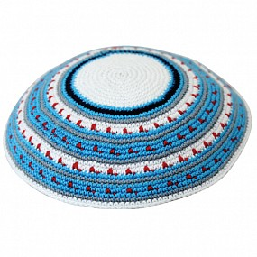 Knitted kippah - red dots