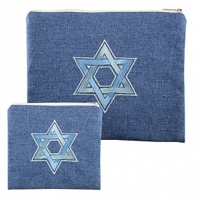 Blue Linen Tallit & Tefillin Set - Magen David