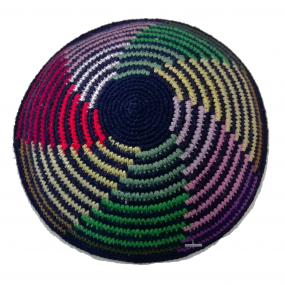 Blue Knitted Kippah - Coloured Lines