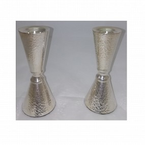 Sterling Silver Hammered Candlesticks - 13cm