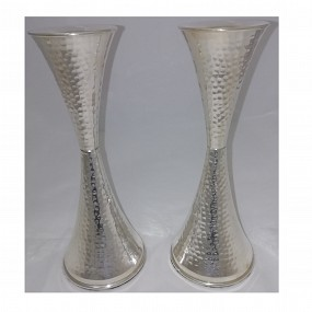 Sterling Silver Hammered Candlesticks - 19cm