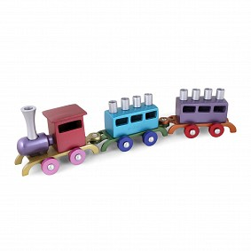 Emanual Train Menorah - Multicoloured
