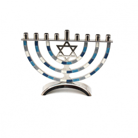 Metal Curved Menorah - Blue