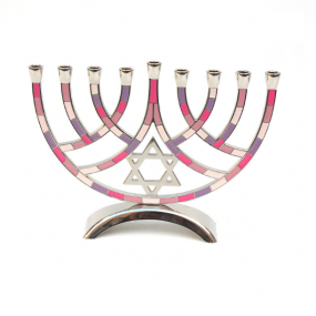 Metal Pieces Menorah - Pink