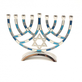 Metal Pieces Menorah - Blue