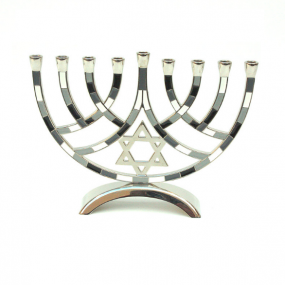 Metal Pieces Menorah - Grey/Black